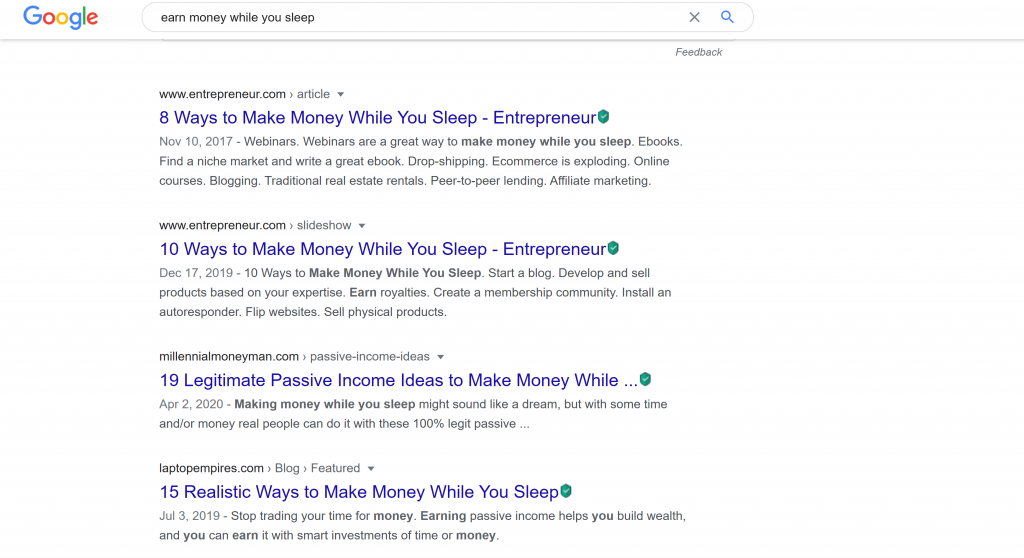 Google search for earn money while you sleep